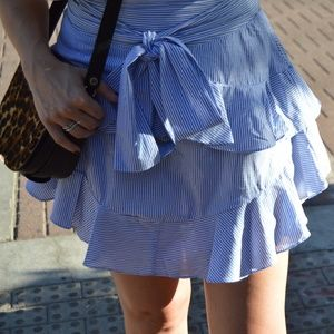 Tie Front Ruffled and Striped Skirt